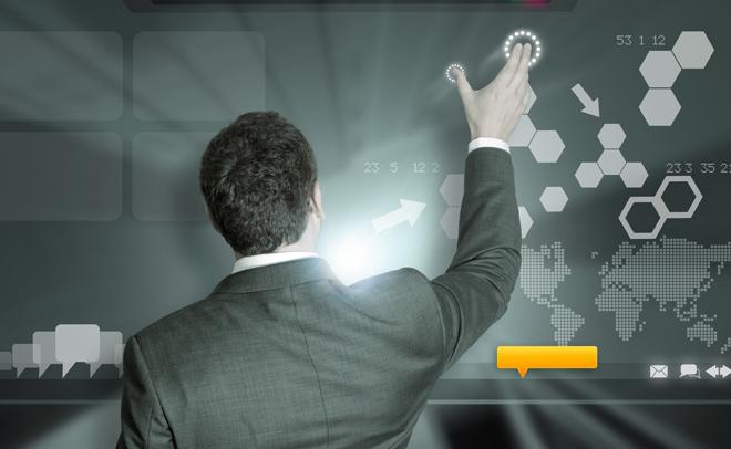 A businessman working on modern technology.