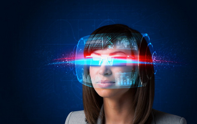 39140209 - future woman with high tech smart glasses concept