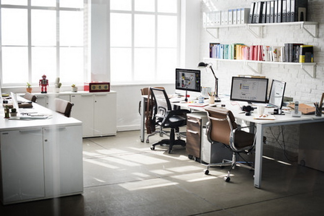 52967915 - contemporary room workplace office supplies concept