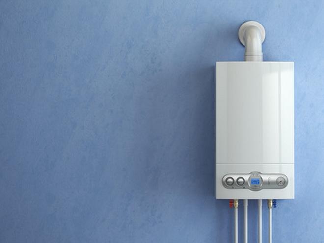 55845687 - gas boiler on blue background. gas boiler home heating. 3d